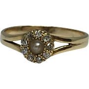14k Pearl & Mine Cut Diamonds Ring