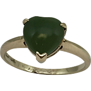 10k Heart Cut Jade Ring Yellow Gold