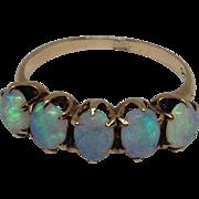 10k Five Opal Ring Yellow Gold