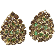 Alice Caviness Pear Shape Emerald Glass & Chocolate Rhinestones Clip on Earrings w/ Original Hang Tag