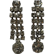 Unsigned Clear Rhinestone Dangle Clip On Earrings