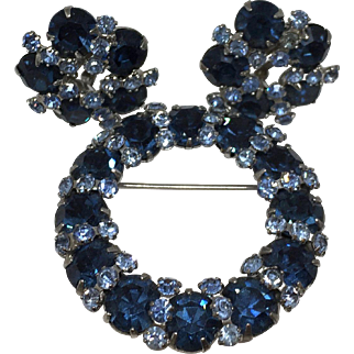 Vintage Unsigned Sapphire Blue Brooch/Pin & Earrings Set
