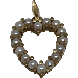 14k Seed Pearl Heart Pendant Yellow Gold