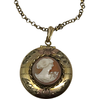 10k Gold FIlled Shell Cameo Locket Pendant w/ Chain