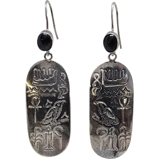 Sterling Egyptian Hieroglyph Earrings w/ Black Star Diopside Stones