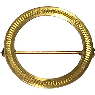 10k Yellow Gold Circle Pin/Brooch