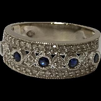 14k Diamond & Sapphire Band White Gold