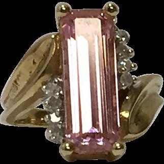 Vintage 10k Yellow Gold Pink Tourmaline and Diamond ring