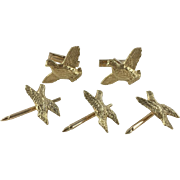 Vintage 18k Yellow Gold Quail Cuff Links and Stud Set