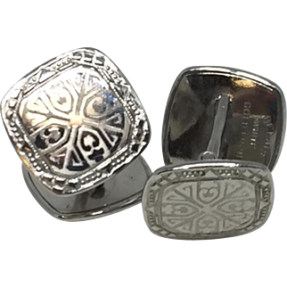 Belais Antique White Gold Cuff Links