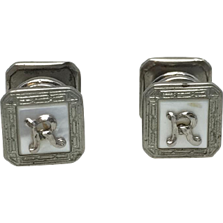 "Vintage Sterling ""R"" Cuff Links"