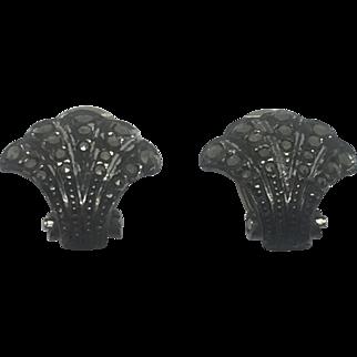 Vintage 835 Silver Clip On Seashell & Marcasite Earrings