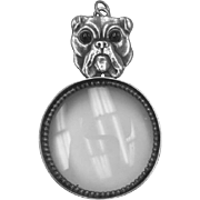 Beautiful Vincent Simone Solid Sterling Silver Bulldog Magnifying Glass with Garnet Eyes