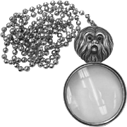 Beautiful Vincent Simone Solid Sterling Silver Maltese Dog Magnifying Glass Pendant on New Sterling Silver Chain