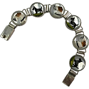 Vincent Simone Sterling Silver Reverse Painted Essex Crystal Bracelet with Fox Terriers & Scotties