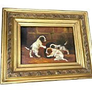 Lovely Vintage Oil on Board Painting of Three Dogs Playing