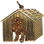 Great Vintage 14K Yellow Gold Dog in Doghouse Pendant