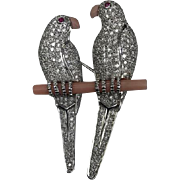 Gorgeous 18K White Gold Brooch Pin / Pendant of Two Love Birds on a Coral Branch