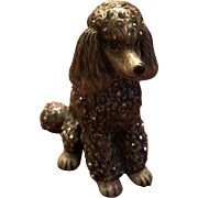 Jay Strongwater Enamel Silver Gray Poodle Figurine Embellished with Swarovski Crystals