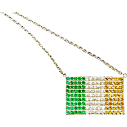 Solid Sterling Silver Irish Flag Pendant on Chain