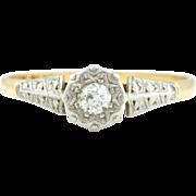 Elegant 18ct Gold Art Deco Diamond Solitaire Ring -c.1920