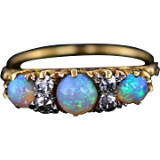 Bewitching Antique 18ct Gold Opal and Diamond Ring -c.1900