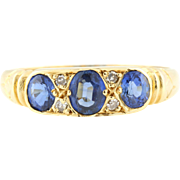 Superb 18ct Gold Antique Sapphire and Diamond Ring -c.1800s