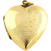 Charming Art Deco 9ct Gold Heart Locket with Pretty Sunrays Design- Circa 1925