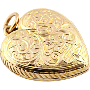 "ON HOLD Pristine 9ct Solid Gold Edwardian Heart Locket - c.1904 (with 20"" Chain)"