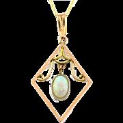 Beautiful Art Nouveau 9ct Gold Opal Pendant, with Chain- Circa 1910