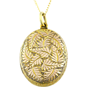 Victorian Antique 9ct Gold Locket with Fern Motif, with Chain- c.1850