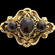 Superb 18ct Gold Victorian Garnet Brooch -c.1880