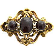 Superb 18ct Gold Victorian Garnet Brooch -c.1880
