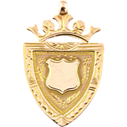 Rare Art Deco 9ct Gold Crowned Shield Fob Pendant with Chain - Circa 1926