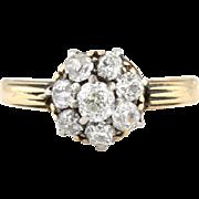 Antique 18ct Gold Victorian Diamond Cluster Ring (0.60ct) -c.1850