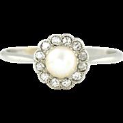 Art Deco Natural Pearl & Rose-Cut Diamond Cluster Platinum Ring -c.1930