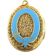 Charming 9ct Gold Victorian Mourning locket with Enamel Buckle Motif - c.1860