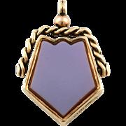 Rare Antique 9ct Rose Gold Agate Pentagon Swivel Fob Pendant- c.1896