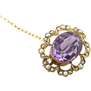 Superb Art Nouveau  9ct Gold, Amethyst and Pearl Flower Brooch - Circa 1900