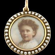 Edwardian 15ct Rosy Gold Natural Pearl Photo Locket Pendant -c.1901