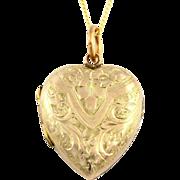 Pretty Victorian 9ct Gold Puffy Heart Locket & Chain - c.1850