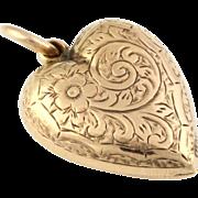 Romantic 9ct Gold Antique Heart Pendant with chain- Circa 1905