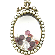 Beautiful Silver Antique Shaker Locket with Pearls and Precious Gems c.1905