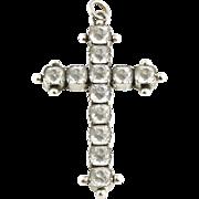 Rare Late Georgian Large Silver & Old Cut Paste Cross Pendant - c.1820