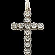 Antique Georgian Paste Silver Cross Pendant -c.1800
