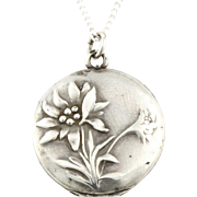 Dainty Art Nouveau Silver Locket and Chain - c.1910