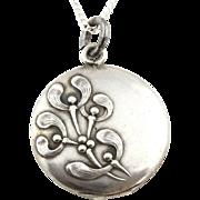 Beautiful Art Nouveau French Silver Mistletoe Locket and Chain - c.1900