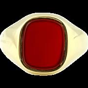9ct Gold Vintage Carnelian Signet Ring -c.1980