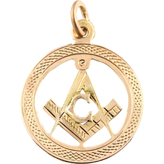 """Art Deco 9ct Rose Gold Masonic Square and Compass Pendant, with 18"""" Gold Chain - c.1923"""