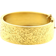 Fine Gold Plated Victorian Hinged Cuff Bangle - c.1880